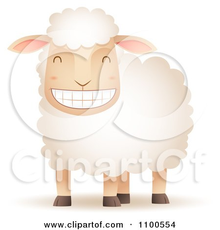 Clipart Happy Sheep Grinning - Royalty Free Vector Illustration by Qiun