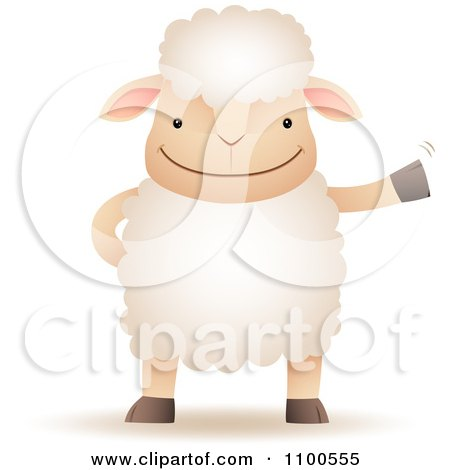 Clipart Happy Sheep Standing Upright And Waving - Royalty Free Vector Illustration by Qiun