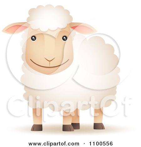 Clipart Happy Sheep Smiling - Royalty Free Vector Illustration by Qiun