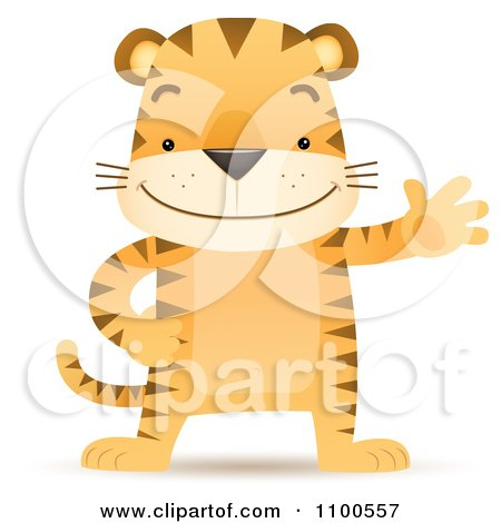 Clipart Happy Tiger Standing Upright And Waving - Royalty Free Vector Illustration by Qiun