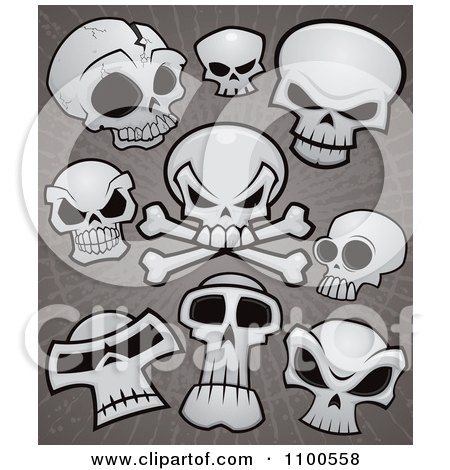 Clipart Human Skulls And Cross Bones Over Grungy Gray - Royalty Free Vector Illustration by John Schwegel