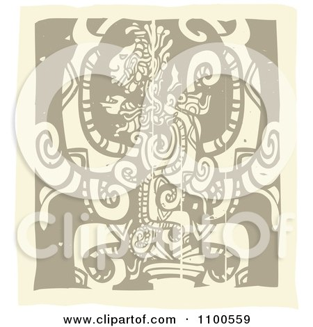 Clipart Mayan God Brown And Beige - Royalty Free Vector Illustration by xunantunich