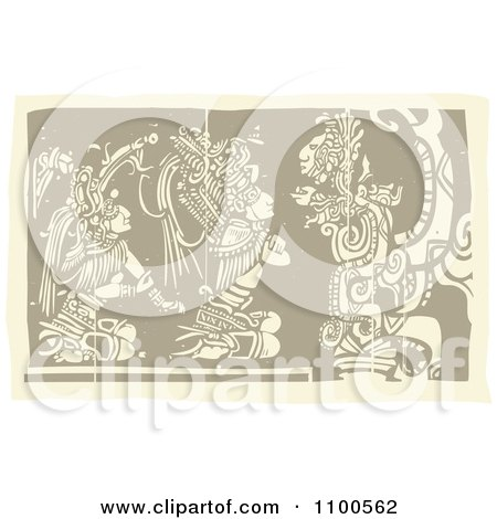 Clipart Mayans Kneeling Before Their God Brown And Beige - Royalty Free Vector Illustration by xunantunich