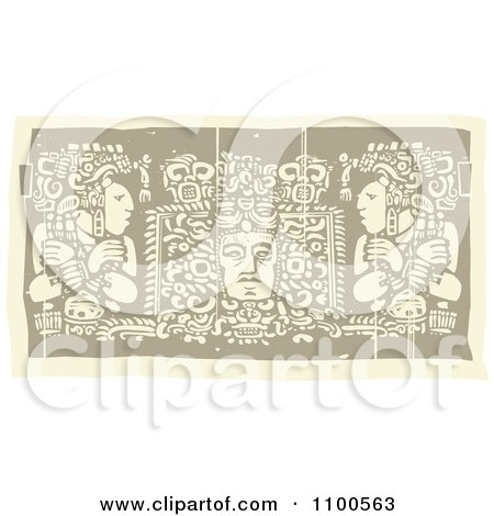 Clipart Faded Mayans Before Their God Brown And Beige - Royalty Free Vector Illustration by xunantunich