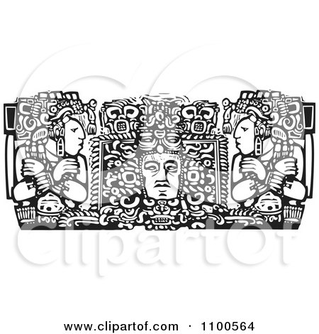 Clipart Mayan Men Beside A God Black And White - Royalty Free Vector Illustration by xunantunich