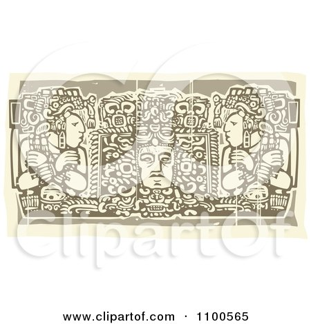 Clipart Mayans Before Their God Brown And Beige - Royalty Free Vector Illustration by xunantunich