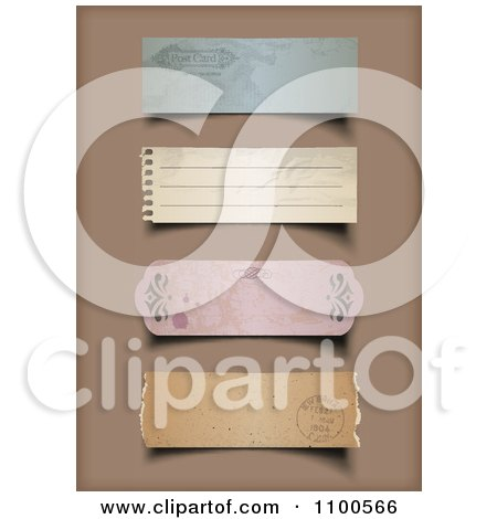 Clipart 3d Vintage Torn Paper Labels On Brown - Royalty Free Vector Illustration by Eugene