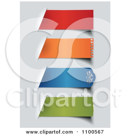 Clipart 3d Colorful Torn Paper Labels On Gray - Royalty Free Vector Illustration by Eugene