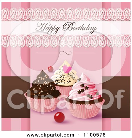 Clipart Lacy Happy Birthday Greeting Over Cupcakes On Pink And Brown - Royalty Free Vector Illustration by Eugene