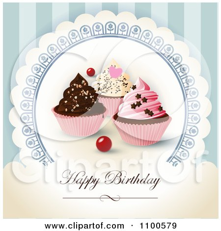 Clipart Happy Birthday Greeting With Cupcakes On Blue - Royalty Free Vector Illustration by Eugene