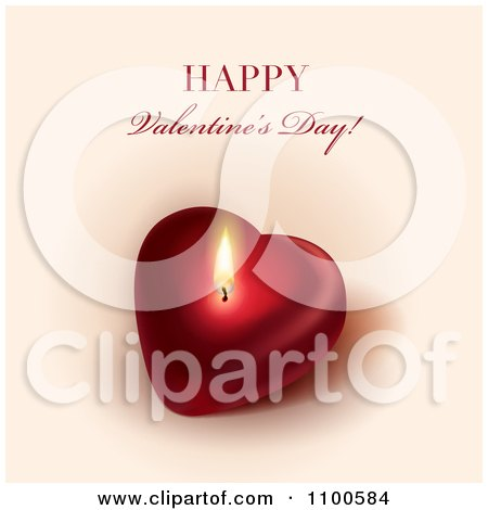 Clipart Happy Valentines Day Greeting Over A Glowing Candle Heart - Royalty Free Vector Illustration by Eugene