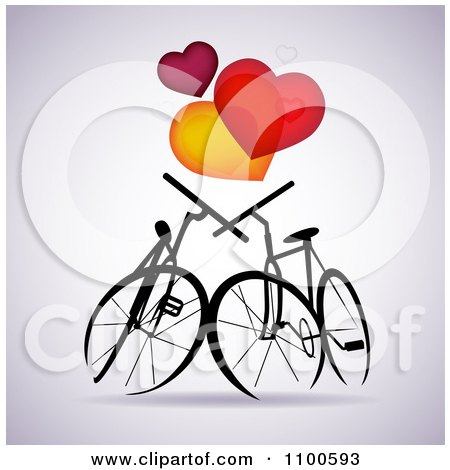 Clipart Silhouetted Bikes In Love Under Hearts On Gray - Royalty Free Vector Illustration by Eugene