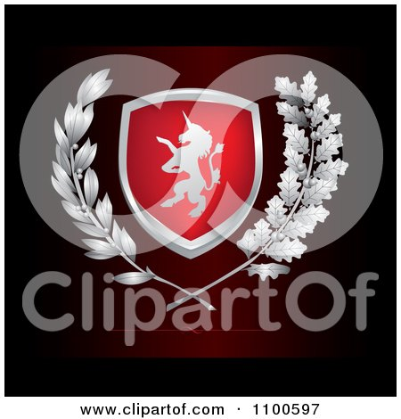 Clipart Unicorn Lion Crest Shield With Leaves On Dark Red - Royalty Free Vector Illustration by Eugene