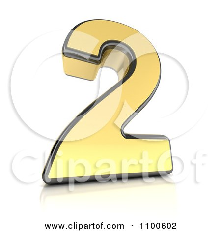 Clipart 3d Golden Digit Number 2 - Royalty Free CGI Illustration by stockillustrations