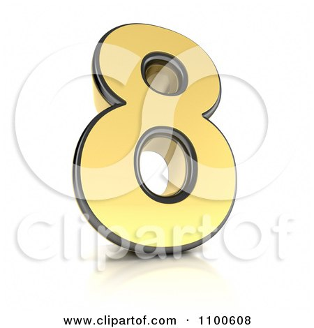 Clipart 3d Golden Digit Number 8 - Royalty Free CGI Illustration by stockillustrations