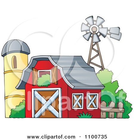 Clipart Red Barn With An Open Hay Loft A Silo And Windmill - Royalty Free Vector Illustration by visekart