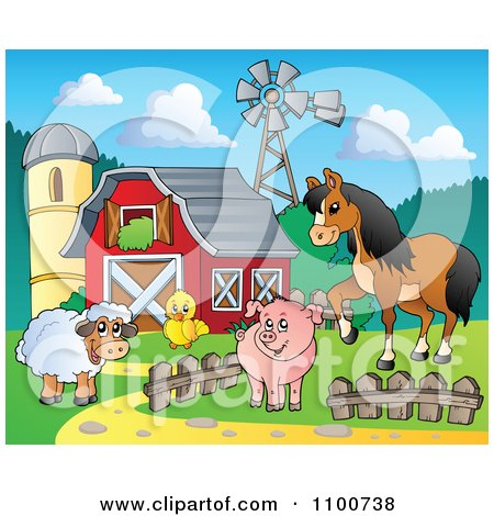 Clipart Sheep Chicken Pig And Horse By A Red Barn Silo And Windmill - Royalty Free Vector Illustration by visekart