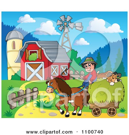 Royalty Free Rf Clipart Illustration Of A Red Barn By A