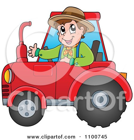 Clipart Happy Farmer Driving A Red Tractor - Royalty Free Vector Illustration by visekart
