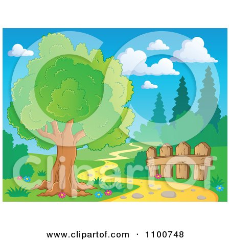 Clipart Tree And Wood Fence Beside A Nature Path - Royalty Free Vector Illustration by visekart