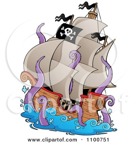 Clipart Pirate Ship Being Attacked By A Giant Octopus Or Squid - Royalty Free Vector Illustration by visekart