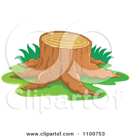 Clipart Tree Stump With Grass - Royalty Free Vector Illustration by visekart