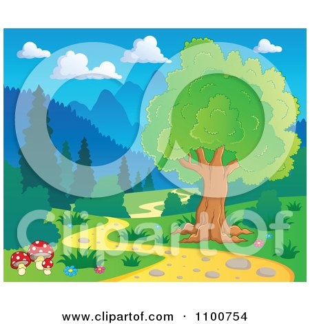 Clipart Tree And Mushrooms Beside A Nature Path - Royalty Free Vector Illustration by visekart