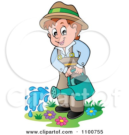 Clipart Happy Gardener Watering His Plants - Royalty Free Vector Illustration by visekart