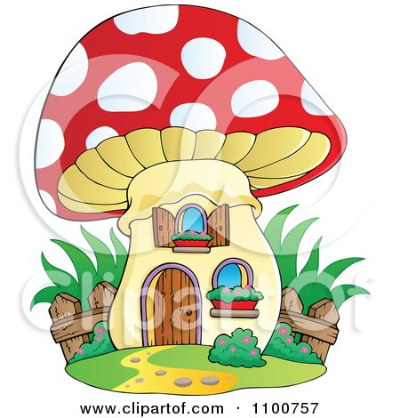 Clipart Mushroom House With A Wooden Fence - Royalty Free Vector Illustration by visekart