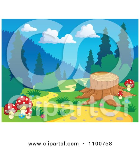 Clipart Tree Stump Beside A Nature Trail In The Woods - Royalty Free Vector Illustration by visekart