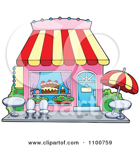 Cake Art Store : Clipart Cake Or Candy Shop With Outdoor Seating - Royalty ...