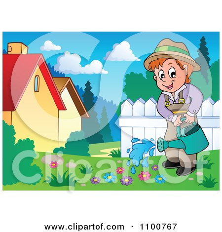 Clipart Happy Gardener Watering Flowers In A Meadow - Royalty Free Vector Illustration by visekart