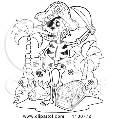 Clipart Outlined Skeleton Pirate Standing By A Treasure Chest - Royalty Free Vector Illustration by visekart