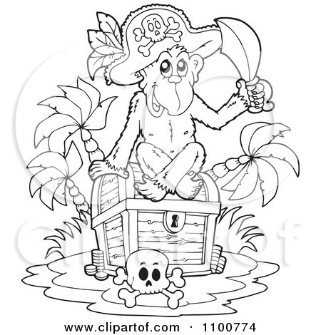 Clipart Outlined Monkey Pirate Sitting On A Treasure Chest - Royalty Free Vector Illustration by visekart