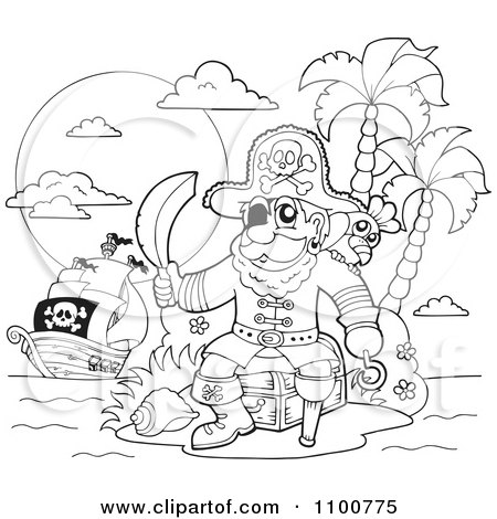 Clipart Outlined Pirate Sitting On A Treasure Chest On An Island With His Ship In The Distance - Royalty Free Vector Illustration by visekart