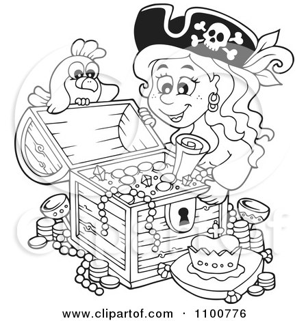 Clipart Outlined Female Pirate And Bird Admiring A Full Treasure Chest - Royalty Free Vector Illustration by visekart