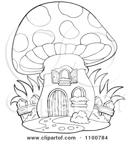 fairy graphic outline coloring pages | Clipart Outlined Mushroom House With A Wooden Fence ...