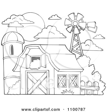 hay coloring pages - clipart outlined barn with hay in the loft a silo and