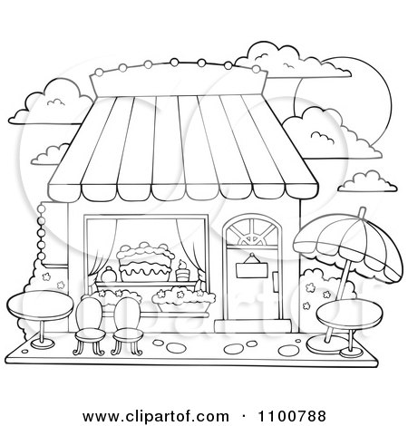 Clipart Outlined Cake Or Candy Shop With Outdoor Seating - Royalty ...