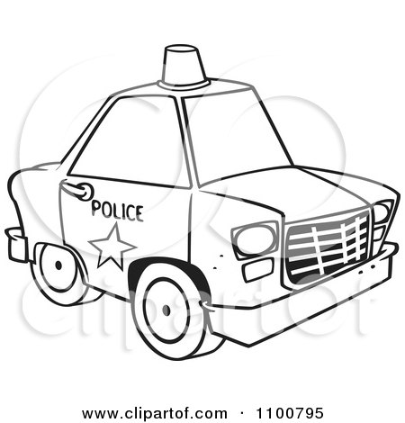 Clipart Outlined Police Car With A Siren Cone On The Roof - Royalty Free Vector Illustration by toonaday