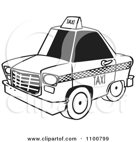 Clipart Outlined City Taxi Cab - Royalty Free Vector Illustration by toonaday