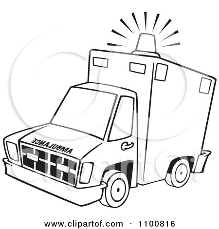 Clipart Outlined Ambulance With Lit Siren Light - Royalty Free Vector Illustration by toonaday