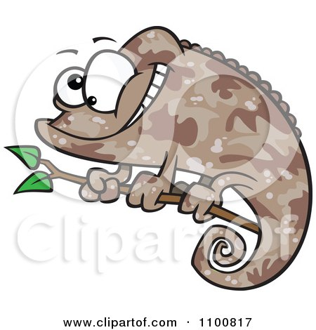 Clipart Happy Cartoon Brown Chameleon Lizard With Camouflage Patterns - Royalty Free Vector Illustration by toonaday