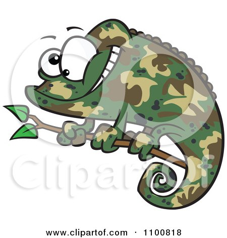Clipart Happy Cartoon Green Chameleon Lizard With Camouflage Patterns - Royalty Free Vector Illustration by toonaday