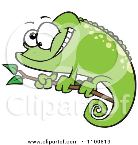 Clipart Happy Cartoon Green Spotted Chameleon Lizard Royalty Free Vector Illustration