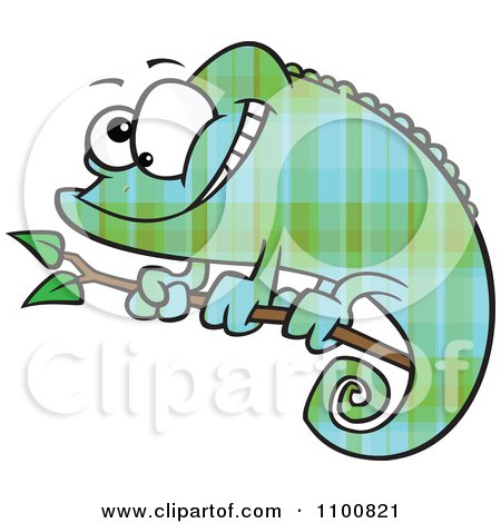 Clipart Happy Cartoon Green And Blue Plaid Chameleon Lizard - Royalty Free Vector Illustration by toonaday