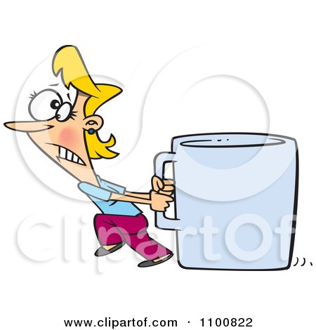 Clipart Woman Pulling A Huge Coffee Cup - Royalty Free Vector Illustration by toonaday