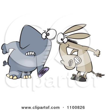 Clipart Cartoon Opposing Democratic Donkey And Republican Elephant - Royalty Free Vector Illustration by toonaday