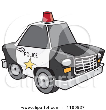 Cartoon Police Car With A Siren Cone On The Roof Posters, Art Prints
