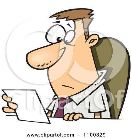 Clipart Businessman Seated At A Desk And Reading A Memo - Royalty Free Vector Illustration by toonaday